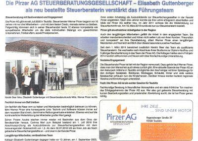 Anzeige-Presseartikel, Mittelbayerische Zeitung, Oktober 2016